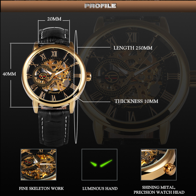 2018 FORSINING 3D Logo Black Gold Men Mechanical Watch Montre Homme Man Watches Top Brand Luxury Leather WINNER Skeleton Design 5