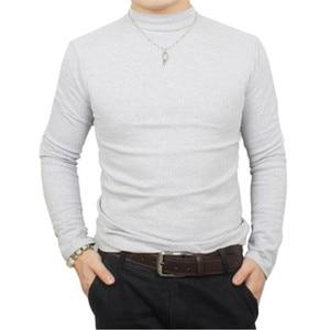 Image 4 - Camisa de t dos homens t shirt homem inverno térmica meia gola tshirt outono primavera camisetas mens quentes básicas grossas shirts tops roupas