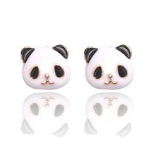 цена на Sweet Kawaii Girls Earrings Sprouting Black And White Giant Panda Animal Cute Earrings Geometric Animal Earrings Jewelry Gift