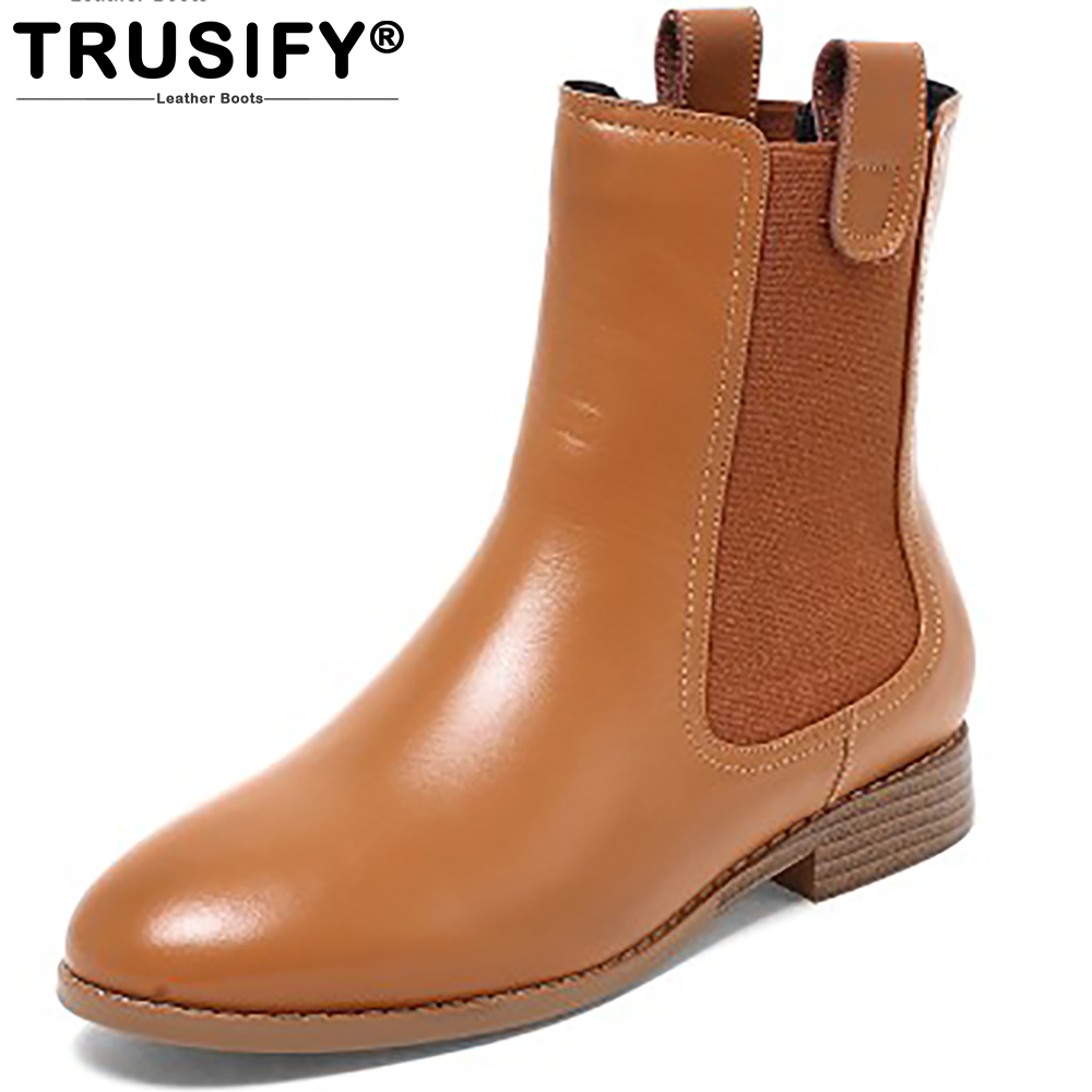 TRUSIFY 2018 Oh *atom Cow Leather Mid Calf Slip On Chelsea Boots Round Toe Low Square heel Rubber Chelsea Boots Women double buckle cross straps mid calf boots