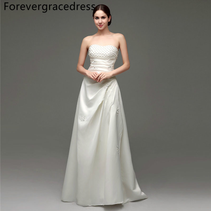 Forevergracedress Elegant Long Wedding Dress A Line Sweetheart Beaded Satin Lace Up Back Bridal Gown Plus Size Custom Made