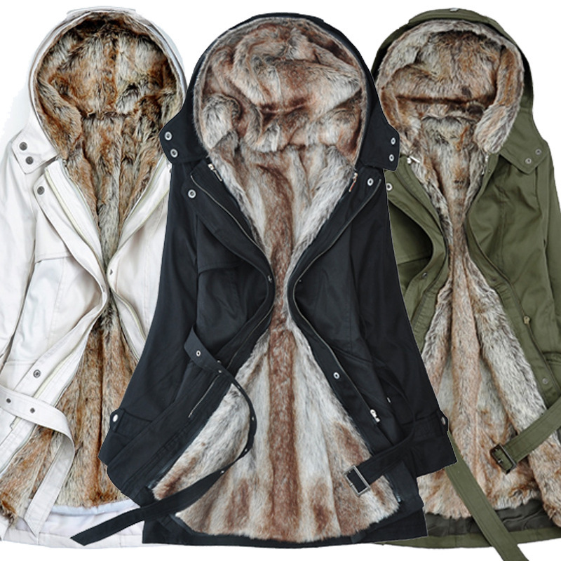 FUR COAT Winter Jacket Women Clothing Thick Fur Liner Thicker   Parkas   Cotton Warm Coat Outerwear Hooded Belted Plus 3XL
