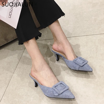 SUOJIALUN 2019 New Brand Women Mules Slipper Elegant Buckle Pointed Toe Thin High Heels Summer Outdoor Slipper Plus Size 36-41