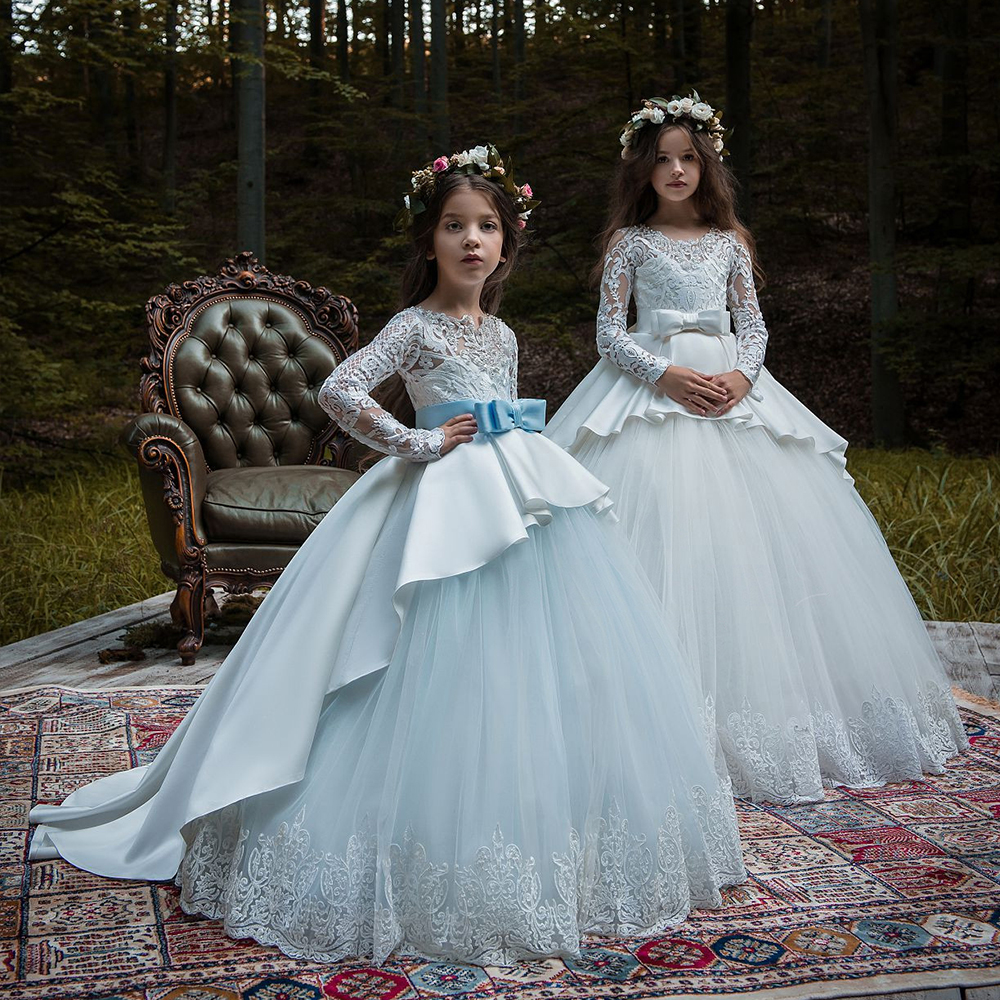 купить New Hot Girls First Communion Dresses Long Sleeves Ball Gown Lace Appliques Tulle Flower Girl Dresses for Weddings with Sash онлайн