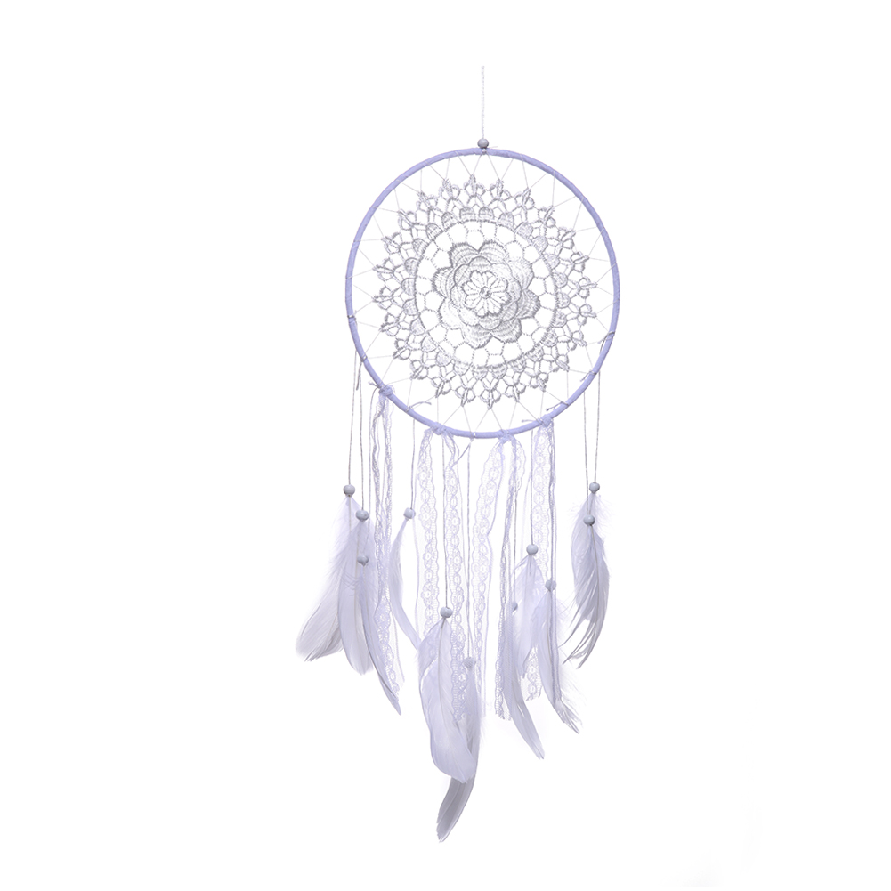 Handmade Fringed Lace Dream Catcher Feather Net with Feathers Wind Chimes Car Wall Hanging Dreamcatcher Home Decoration Craft