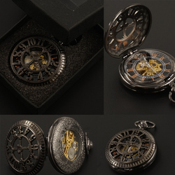 Black arabic numerals mechanical pocket watches fob chain with gift box hand wind skeleton mens steampunk.jpg 250x250