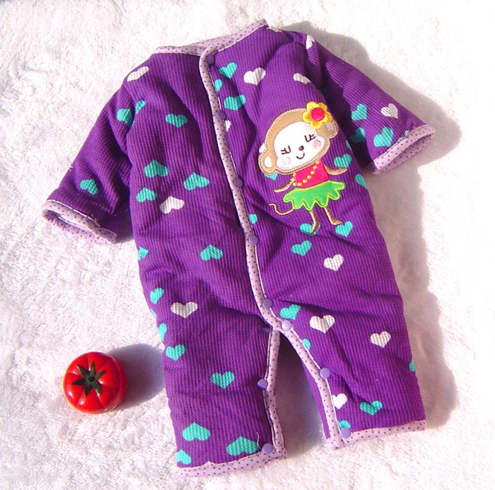 Purple Warm Monkey Baby Rompers Winter Romper For Girl Overall Jumpsuit Kids Baby Wear Newborn Baby Girl Clothes Infant-Clothing red ladybug warm rompers winter bebe jumpsuit baby animal costumes wear newborn baby girl romper baby clothes infant clothing