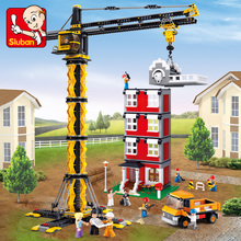 Model building kits compatible with lego city Engineering Tower cranes 3D blocks model building toys hobbies for children