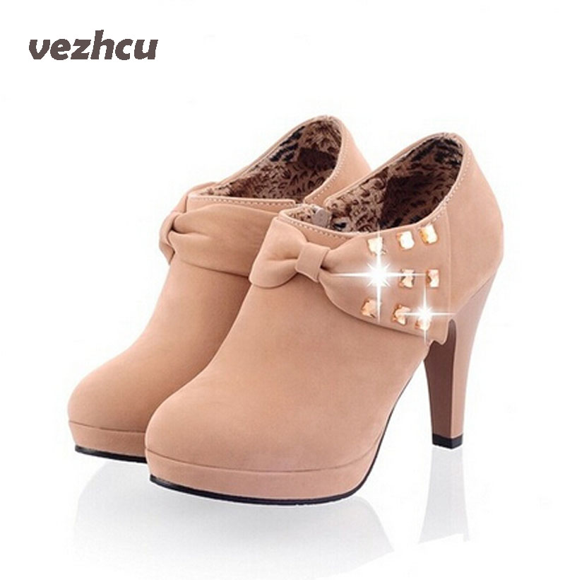 VZEHCU New fashion 2017 women boots shoes casual wedding ankle boots high heel round toe boots
