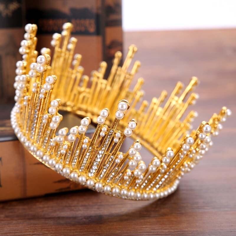 Luxury Wedding Hair Accessories Rhinestone Pearl Queen Princess Full Circle Crystal Tiara Bride Diadem Coronal Head Piece SL