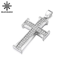 Hip Hop Men Cross Pendant Necklace Zircon Rhinestone Gold Silver Tone Bible Crucifix Charm Jewelry Stainless Steel Necklace