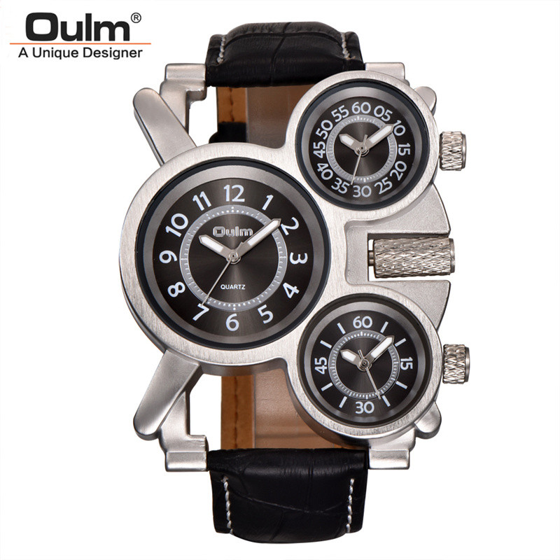 Oulm Sports Men Watches 3 Different Time Zone for Travel Casual Leather Wristwatch Luxury Brand Male Hours Military Watch