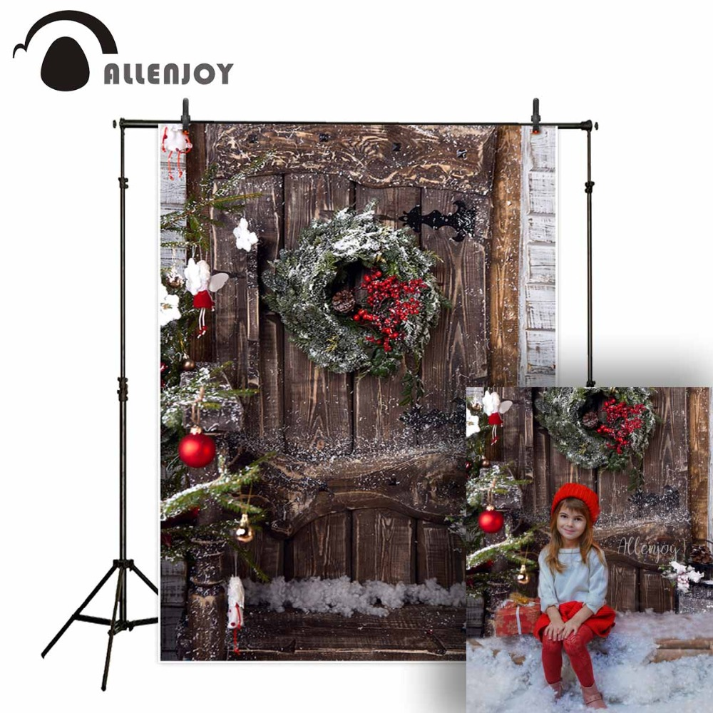 Allenjoy Background For Photo Studio Christmas Wood Door Wreath Red Berries Backdrop Professional Photocall Printed