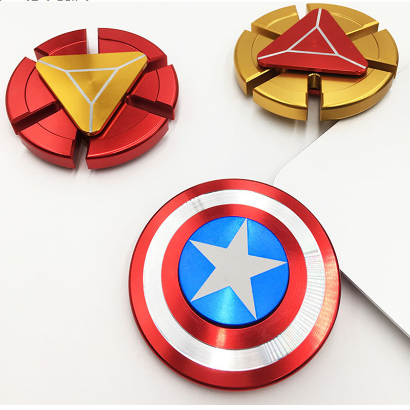 Fidget Spinner Metalen Vinger Spinner Captain America Shield Marvel Speelgoed Tri Hand Top Spinners Pils Superheroes