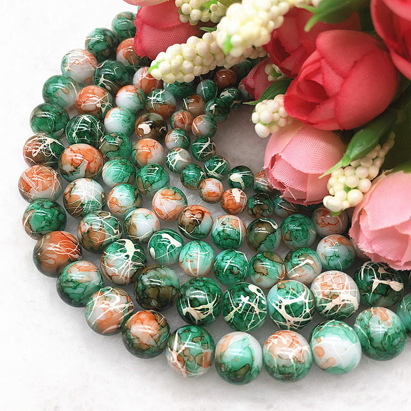 DIY 100 Pcs 4mm Round Pearl Loose Beads Double Colors Glass Jewelry Making #06