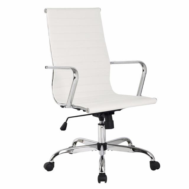 2016 Nova Hight qualidade 3 cores PU De Couro De Alta Volta Da Cadeira Do Escritório Executivo Mesa Do Computador Ergonômico Tarefa HW51438WH