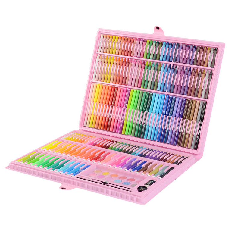 163/196pcs Art Set Children Drawing Marker Watercolor Brush Pen Crayon Drawing Pens For Kids Gift Box Art Painting Supplies