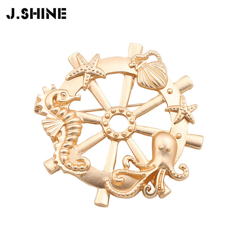 9741314ec JShine Gold Color Anchor Brooches for Women Seahorse Seastar Octopus Brooch  Woman Jewelry 2019 Charm Clothing