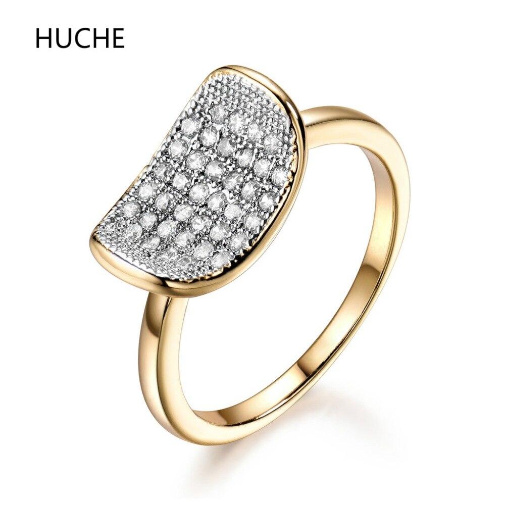Huche новые модные женские Обручальные кольца золотые украшения Цвет Обручение кольцо для Для женщин CZ камнем Promise Ring женский Анель r601
