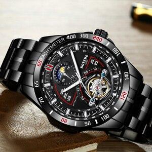 Image 2 - BOYZHE automatyczny mechaniczny zegarek męski modny top marka sport zegarki Tourbillon faza księżyca ze stali nierdzewnej Relogio Masculino