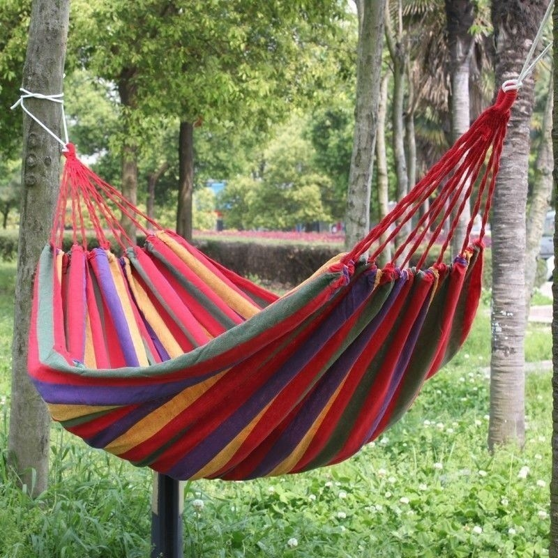 цены  SGODDE Portable Single Hammock Outdoor Swing Camping Fabric Hanging Canvas Bed W/Rope Thickening Widened Single Hot Sale