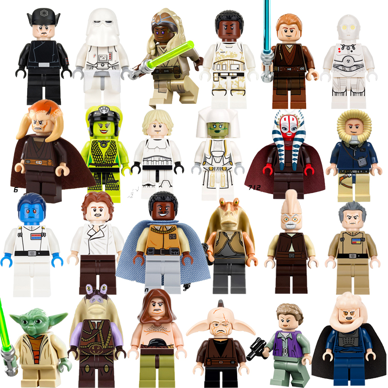 Star Wars building blocks Luke Skywalker Yoda Han Solo Leia Gungan k-3po Thrawn Shaak Ti figures DIY bricks toys for children