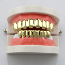 Fashion House Wife Gold/Silve Plated HIP HOP Teeth Grills 8 Top & Bottom Teeth Set With Silicone Model Vampire Teeth Caps NL0015