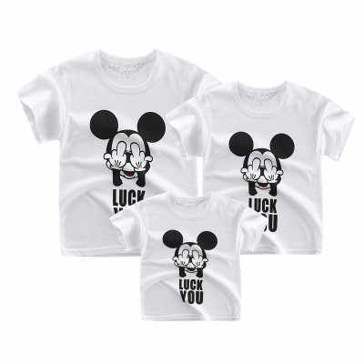Family matching tops father mother kids tshirt mom daughter matching outfit Clothing boys summer clothes girls short sleeve tees