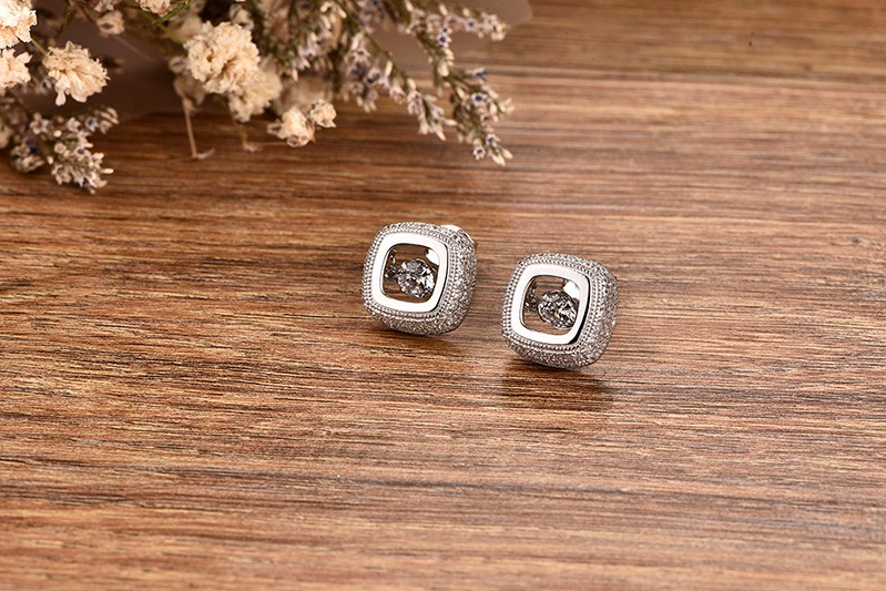 Square White Gold Plated Stud Earrings Dancing CZ diamond Jewelry AAA Wedding Vintage Jewelry for Women (6)