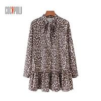 Za mujeres del patrón del leopardo collar largo Camisas oversized manga larga plisada blusa casual Tops blusas c2236