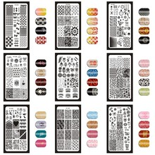 1Pc 6x12cm Fashion Designs Nail Stamping Plates Flowers/Heart/English Letter Image Stamp Template Polish Stencils XY18
