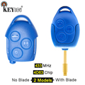 KEYECU 1x/3x433 МГц 4D63 чип P/N: 6C1T15K601AG замена 3 кнопки дистанционный ключ-брелок от машины для Ford Transit WM VM No/с лезвием FO12