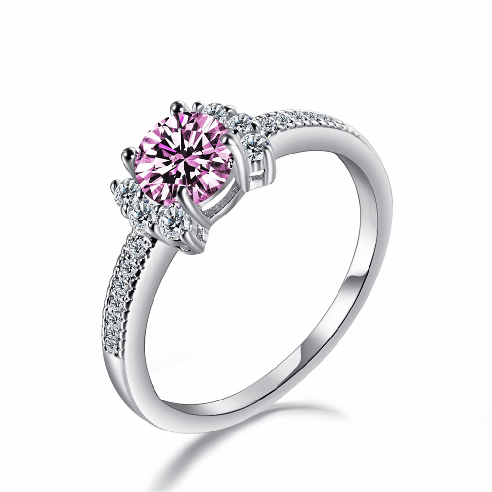Kisswife Fashion Pink Cubic Zirconia Ring Silver Color Cute Bowknot Design Finger Jewelry Couple Wedding Rings For Women Pop: Pink Bow Wedding Ring At Reisefeber.org
