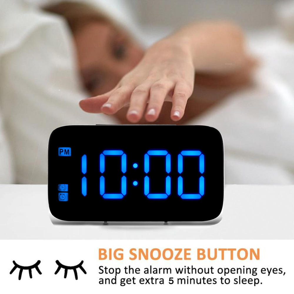 Digital Led Alarm Clock Large Screen Snooze Battery Powered Voice Control Clocks Alarm Clocks Aliexpress