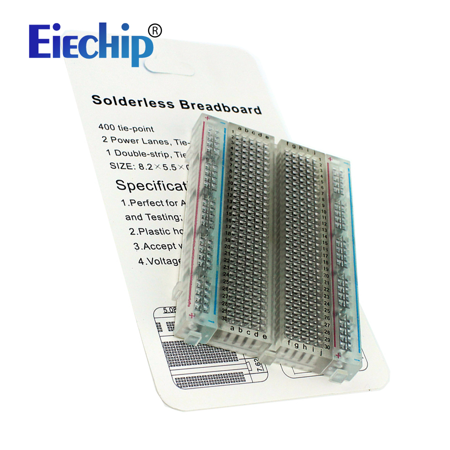 Integrated Circuits 400 Tie-Point Solderless Breadboard Mini Bread Plate 83X55mm Crystal Breadboard