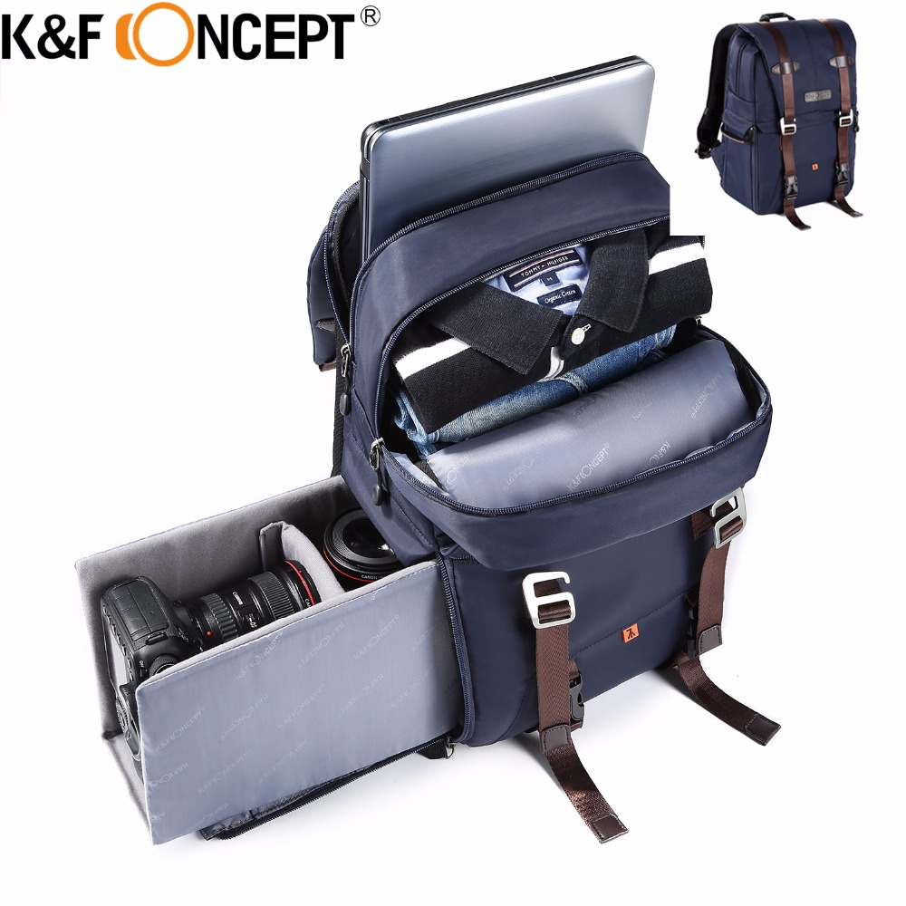 K&F CONCEPT Camera Backpack Waterproof Large Capacity For 14 Laptop Travel Bag Case Side ...