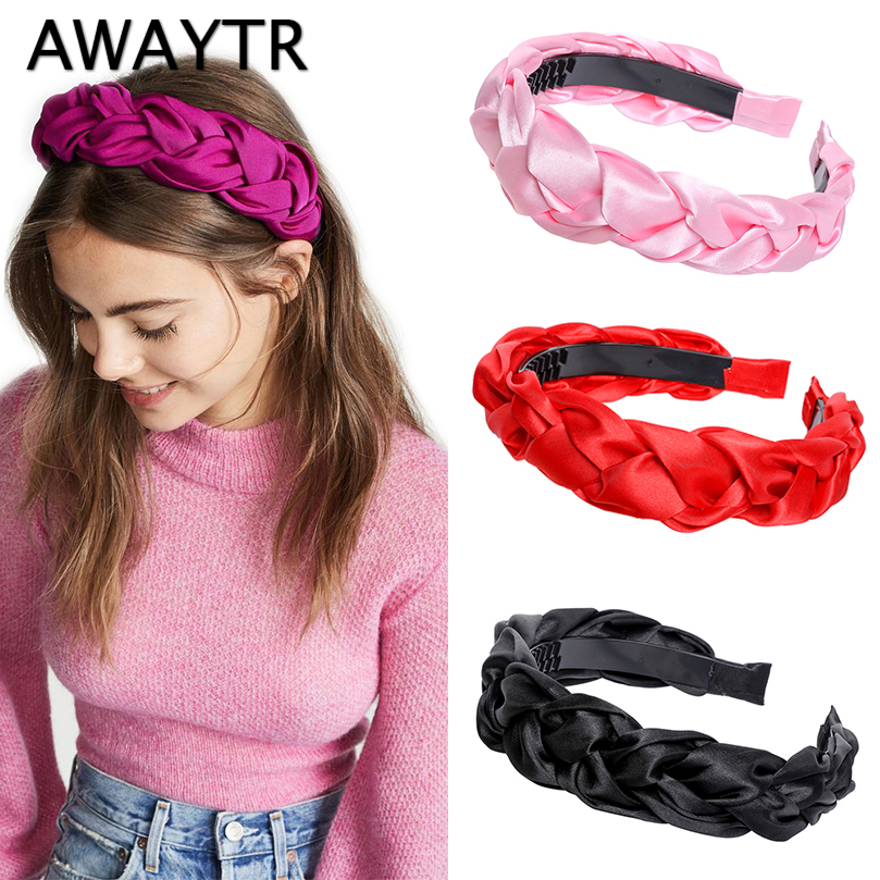 AWAYTR Fashion Wig Slik/Cloth Solid Color Headband For Women Bezel Simple Hairband With Teeth Non-slip Hair Accessories