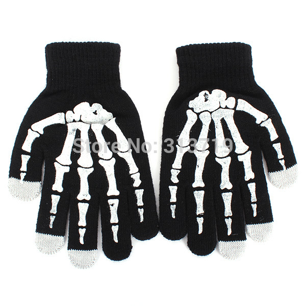 New Skeleton Screen Gloves Hand Warmer Black Mitten For Smart Phone