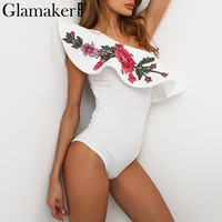 Glamaker One Shoulder Ruffles Sexy Bodysuit Women Tops Floral Embroidered Jumpsuit Romper Summer Elegant Club Women
