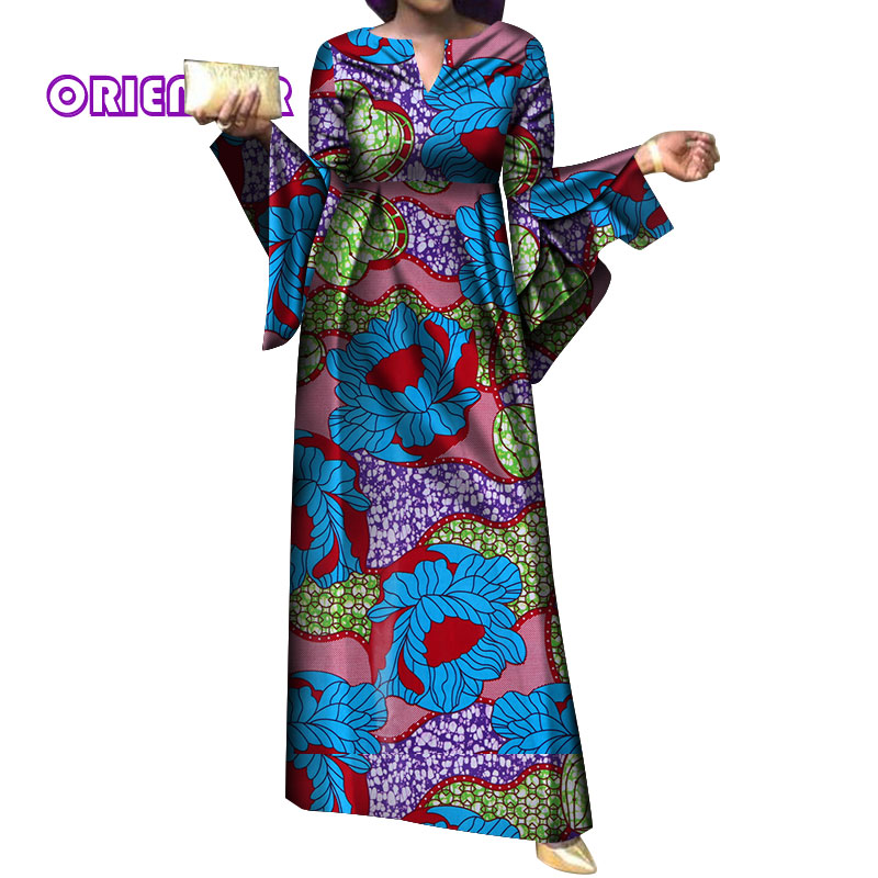 African Dresses For Women Casual Africa Print Bazin Riche Elegant Lady Flare Sleeve High Waist Dress Plus Size Long Dress WY4054