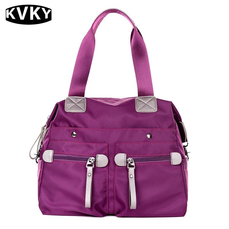 b998b1a5f9c6 KVKY Новая женская нейлоновая оксфордская ткань сумка на плечо большие  холщовые сумки через плечо сумка-мессенджер