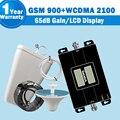 Display LCD GSM 3G Dual Band Sinal de Celular Repetidor GSM 900mh 3G WCDMA UMTS 2100 mhz Celular Amplificador Impulsionador 65dB Ganho Kit