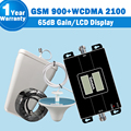 LCD Display GSM 3G Dual Band Mobile Signal Repeater GSM 900mh 3G WCDMA UMTS 2100mhz 65dB Gain Cellphone Amplifier Booster Kit