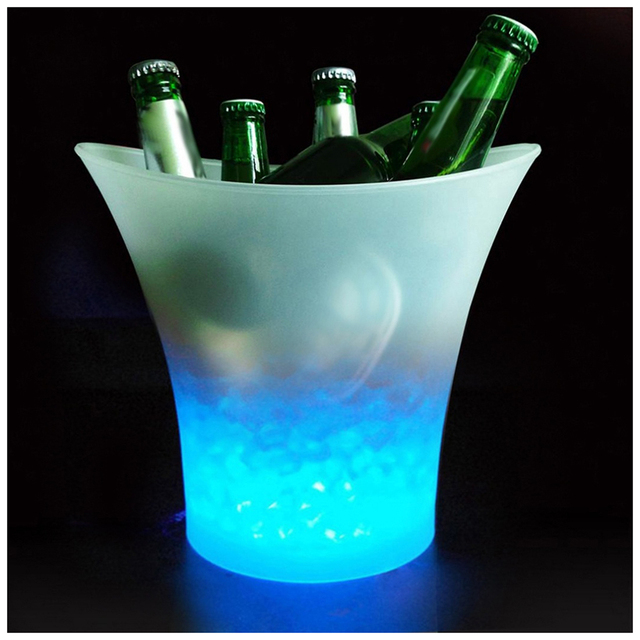 5L Volume Plastic Led Ice Bucket Color Changing Bars Nightclubs LED Light Up Ice Bucket Champagne Beer Bucket (yellow)