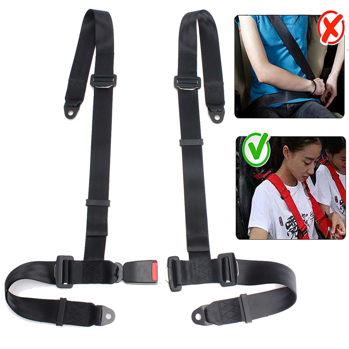 1x Universal Black 4 Point Buckle Auto Car Racing Safety Seat Belt Harness Strap