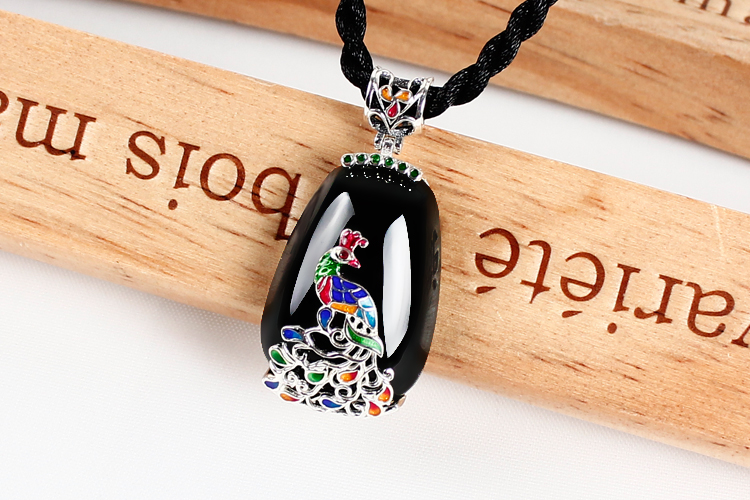 Black Onyx Pendant Silver cord peacock sweater chain Pendant Silver Cloisonne female 925 стоимость
