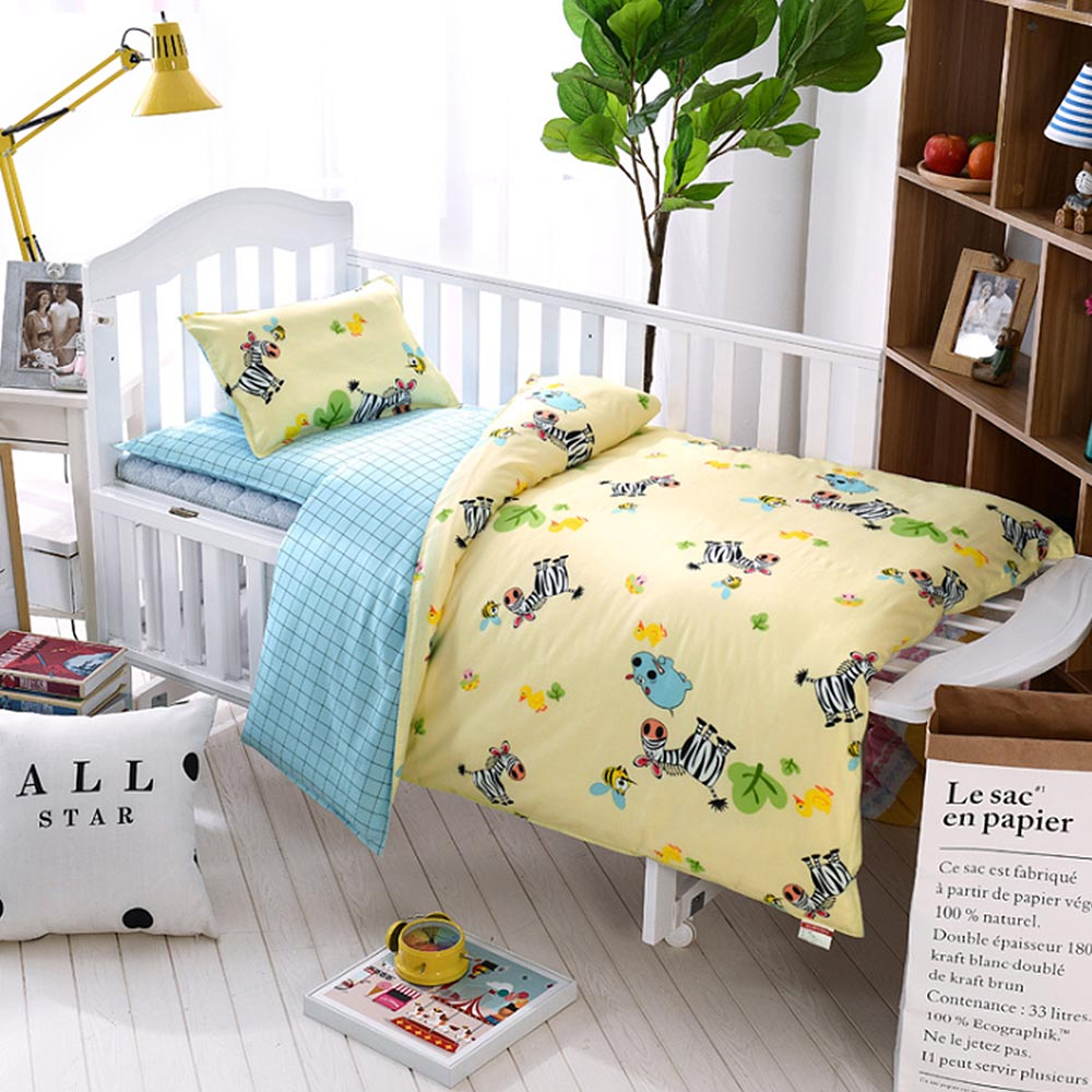 3 Pcs Set Baby Bedding Set Pure Cotton Cartoon Star Pattern Crib Kit Including Pillowcase Duvet Cover Cot Flat Sheet