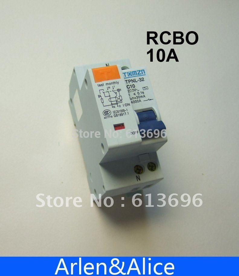DPNL 1P+N 10A 230V~ 50HZ/60HZ Residual current Circuit breaker with over current and Leakage protection RCBO