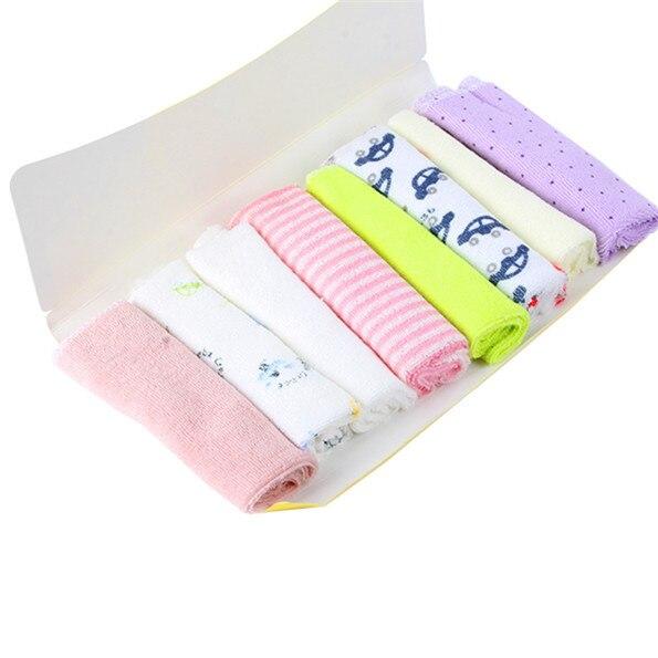 8pcs Baby Kids Hand Towel Toddler Infant Soft Bath Kerchief Face Cotton Washcloth Towels