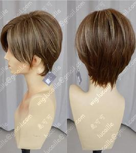 Image 3 - Movie Biohazard Leon Scott Kennedy Short Brown Color Highlights Styled Heat Resistant Hair Cosplay Costume Wig + Free Wig Cap